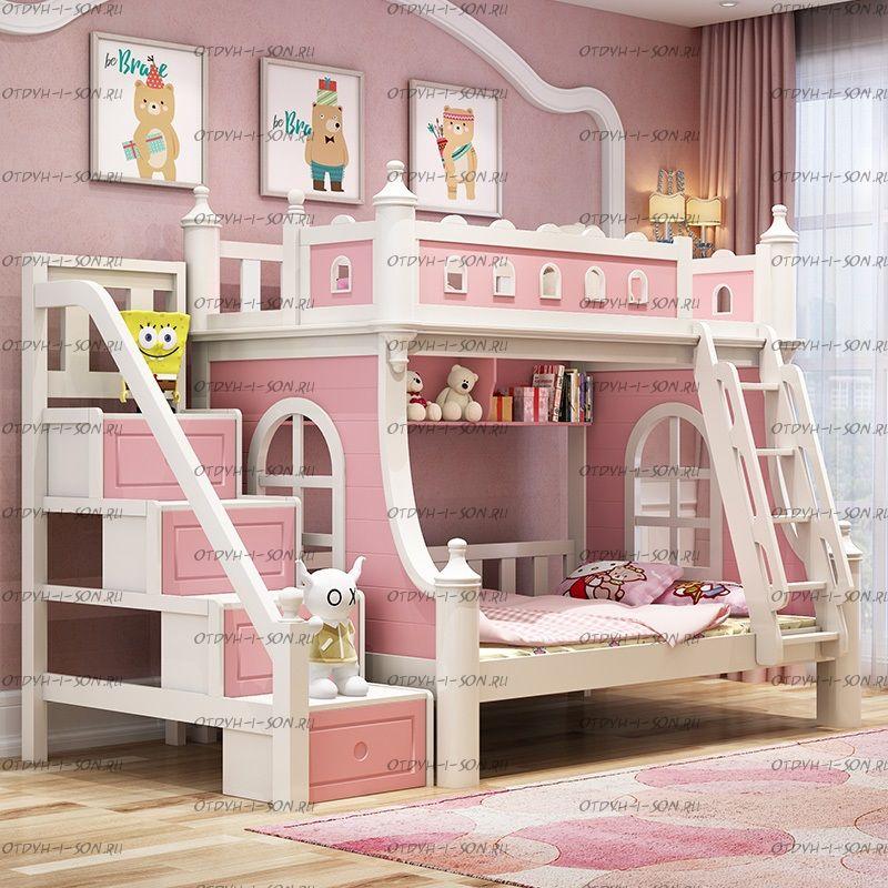 Кровать двухъярусная домик Принцесса Fantasy №IR16