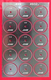 Набор дисков для ревитера d 15 мм, шаг 0,35 - 1,5 мм, 15 шт.