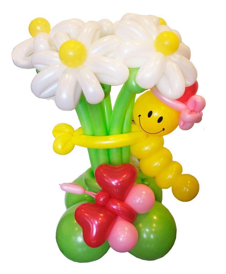 """Цветы из шаров """"клумба с гусеницей"""""""
