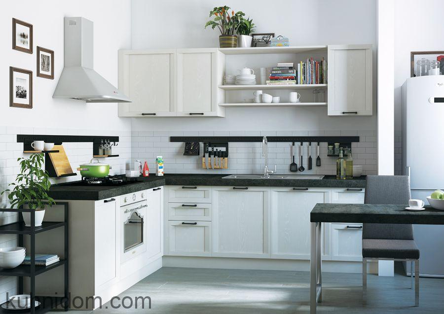 Кухня Портофино Белая с открытыми полками
