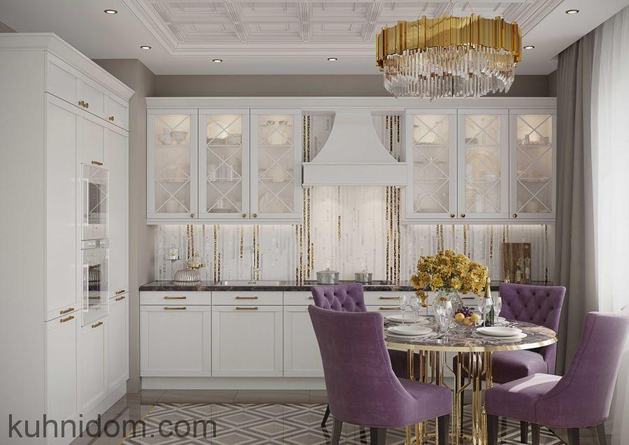 Кухня Портофино Белая с витринами