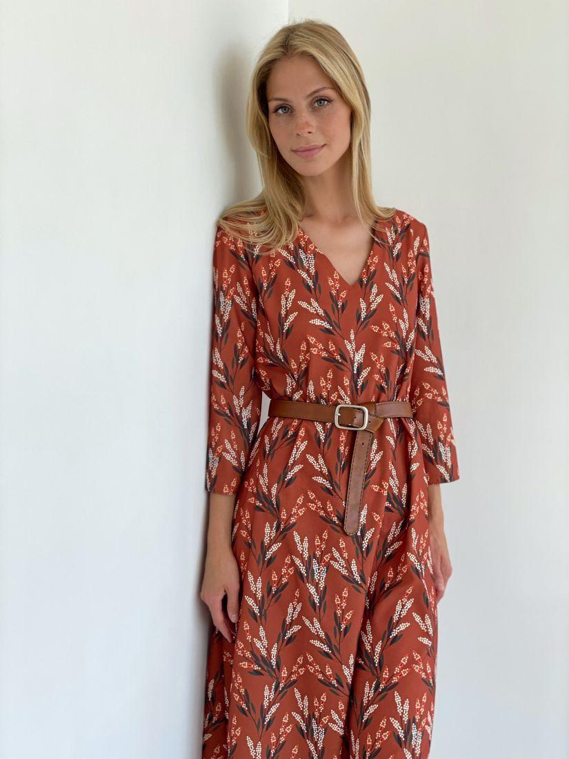 s2145 Платье трапеция в осенней терракотовой расцветке