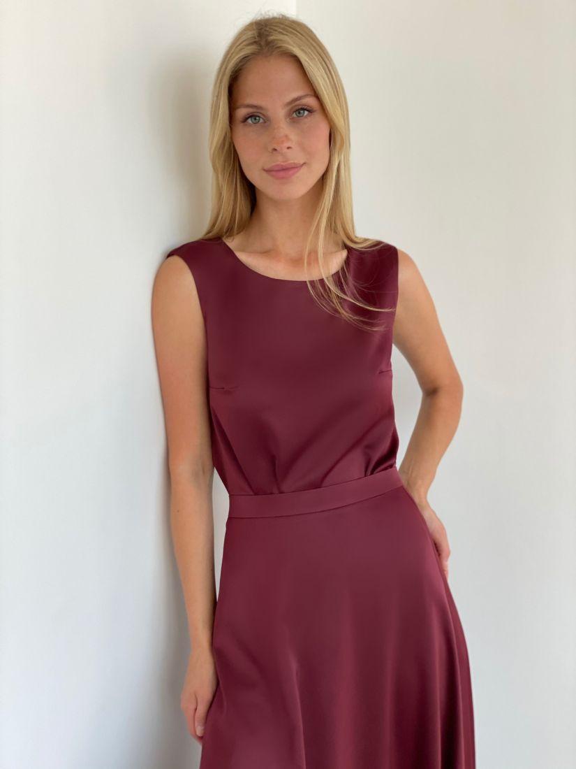 s2146 Топ шёлковый premium базовый в бордовом цвете