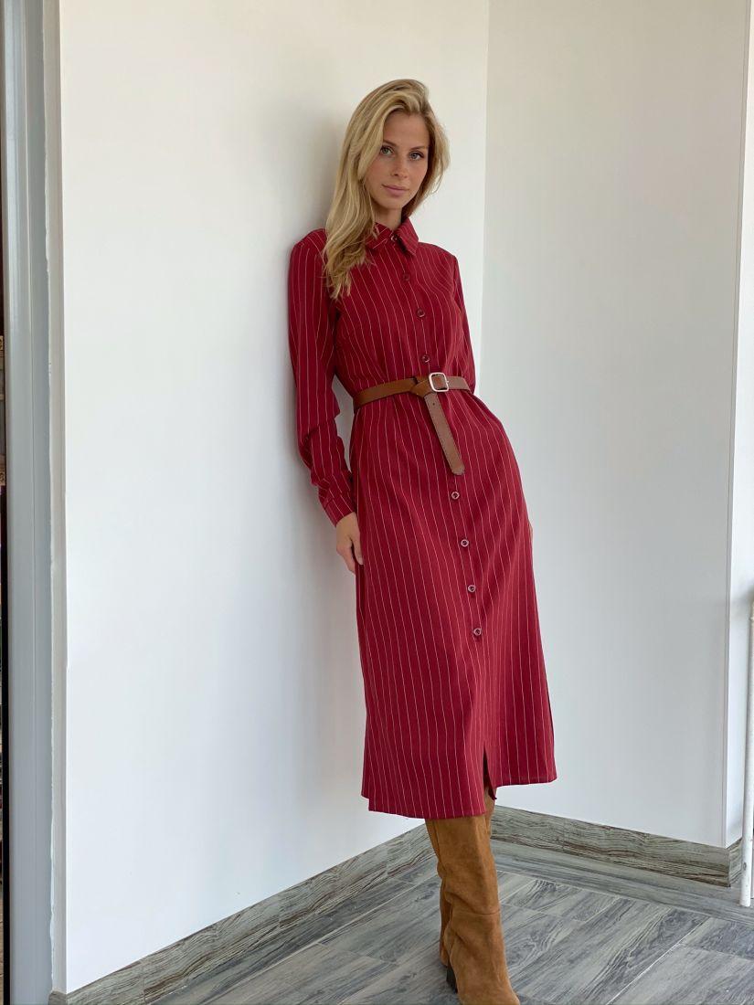 s2153 Платье-рубашка из плотного нежного хлопка тёмно-красное в полоску