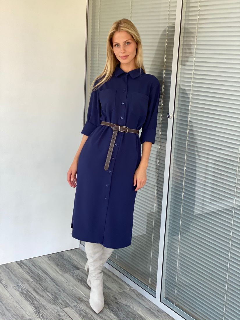 s2164 Платье-рубашка со скошенным рукавом тёмно-синее