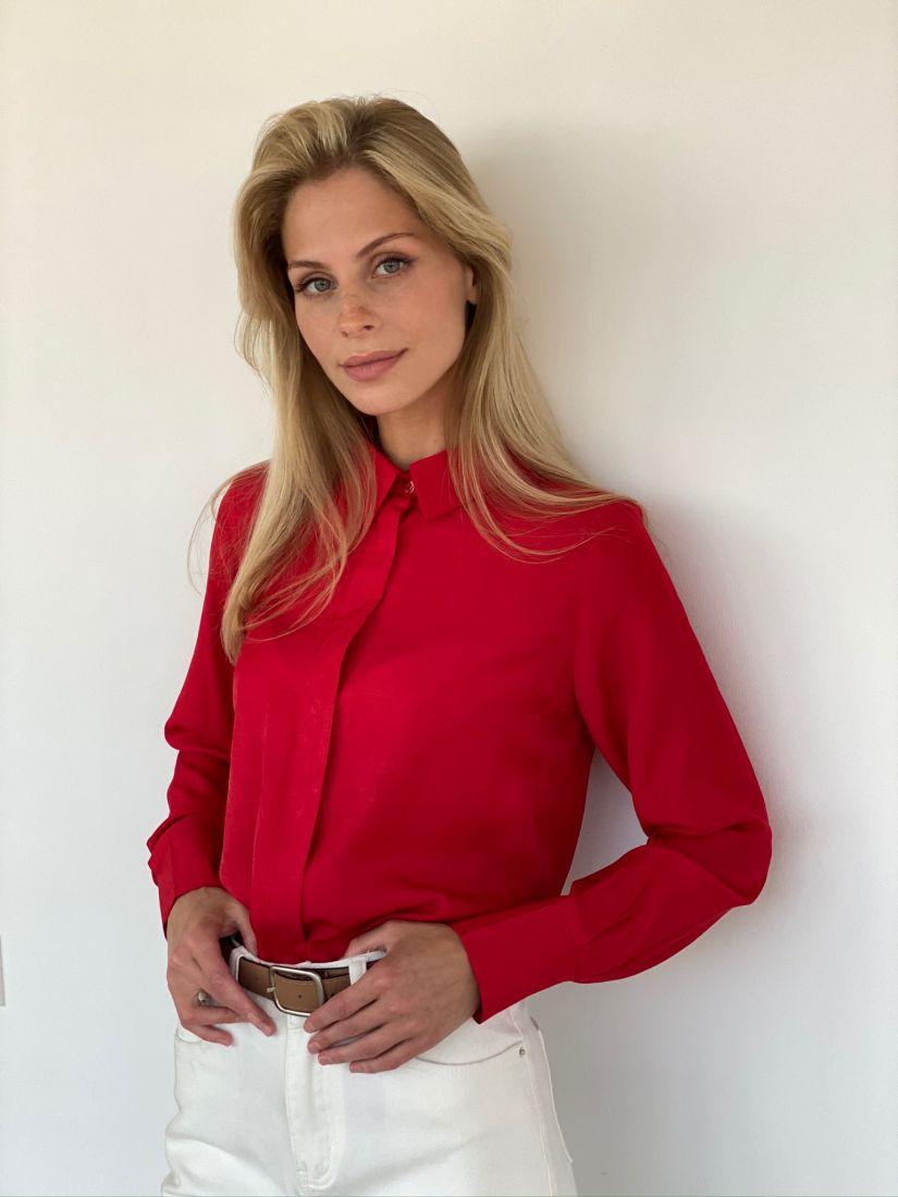 s2172 Рубашка из вискозы красная с супатной застёжкой