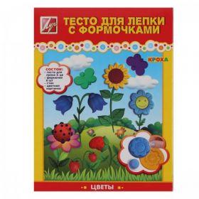 Тесто для лепки 6 цветов по 75гр Луч Кроха Цветы застывающее на воздухе 6 деталей