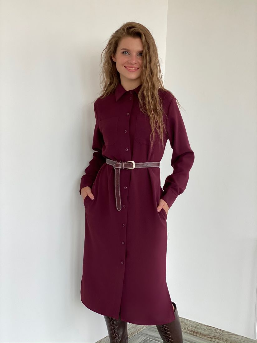 s2181 Платье-рубашка из крепа в бордовом цвете