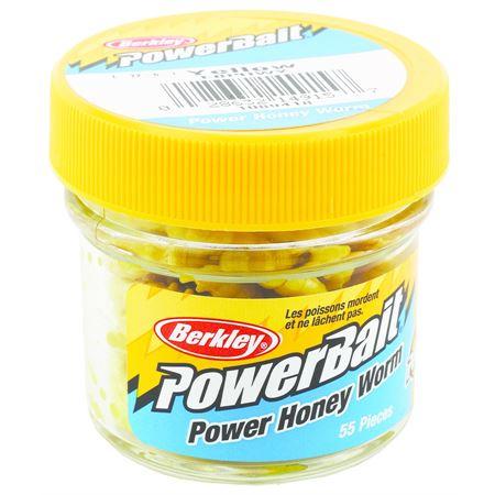 Силиконовая приманка червь Berkley PowerBait 2,5 см желтый (1089418) 55 шт