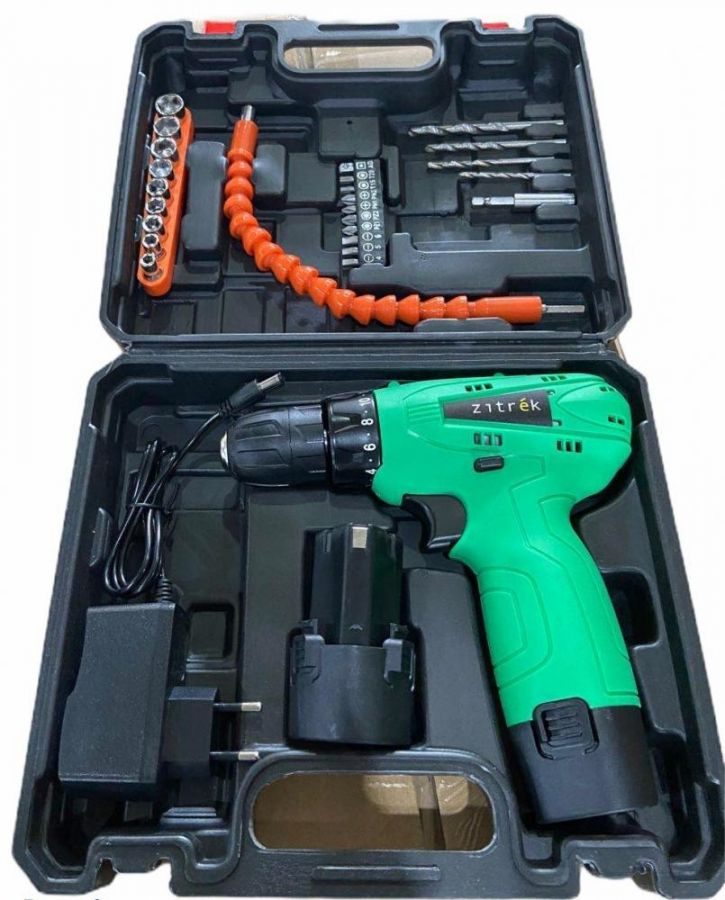 Дрель аккумуляторная Zitrek Green 12 PRO (12В, 2 Li-ion аккум., кейс, гибкий удл., сверла, биты) 063-4073
