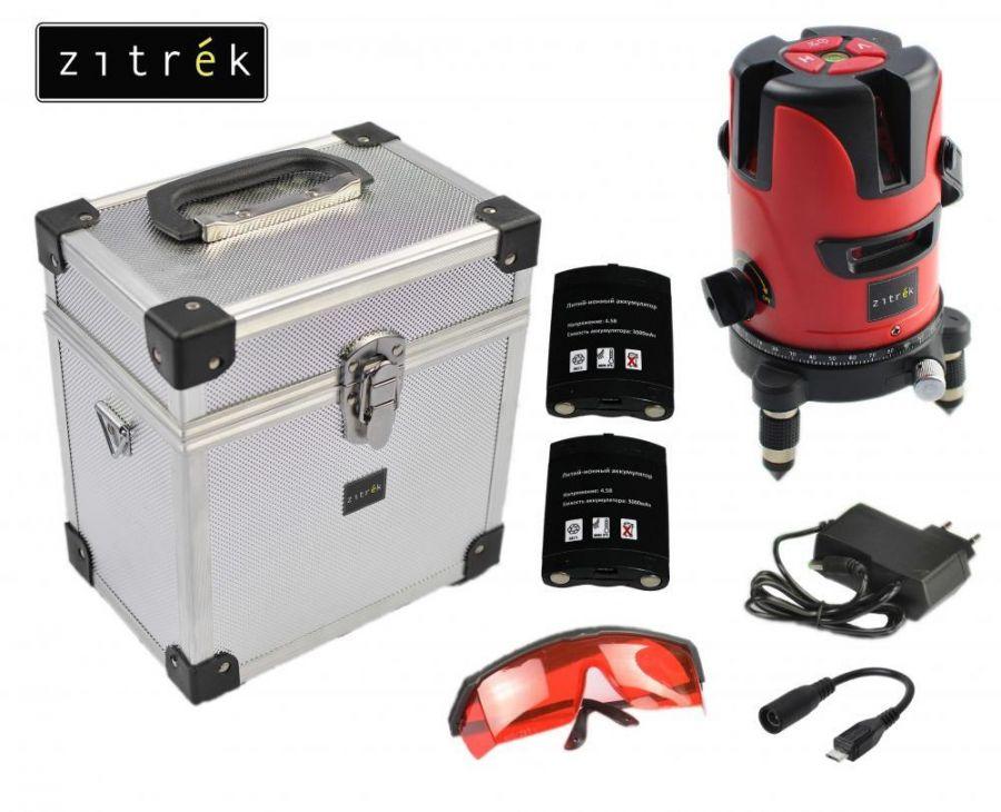 Построитель лазерных плоскостей самовыравнивающийся ZITREK LL4V1H-2Li-MC (5 линий, красный лазер, 2 литиевых аккумулятора, металлический кейс) 065-0187