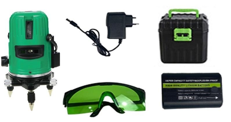 Построитель лазерных плоскостей самовыравнивающийся ZITREK LL4V1H-Li-GL (5 линий, зеленый лазер, литиевый аккумулятор, кейс) 065-0159