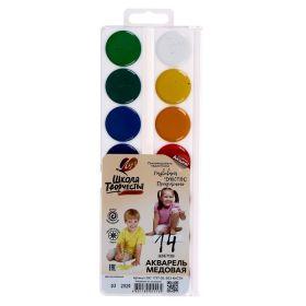 Акварель 14 цветов Луч Школа творчества без кисти пластиковая коробка 29С 1757-08