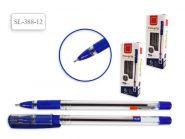 Ручка шариковая, цвет чернил - СИНИЙ, прозрачный корпус с резиновым держателем, игольчатый наконечник 0,7 мм