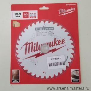 Диск пильный по дереву 190 x 30 x 1.6 мм 36Z для циркулярной пилы Milwaukee 4932471301