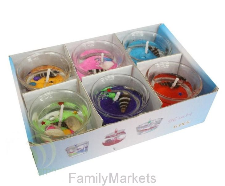 Подарочный набор гелевых мини-свечей в стаканчиках 4 см, 6 шт