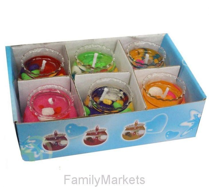 Подарочный набор гелевых мини-свечей в стаканчиках 3 см, 6 шт