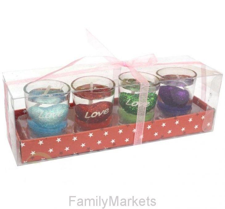 Подарочный набор гелевых мини-свечей в стаканчиках Love 5 см, 4 шт
