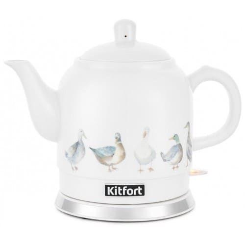 Чайник KitFort КТ-691-2 (белый с рисунком)