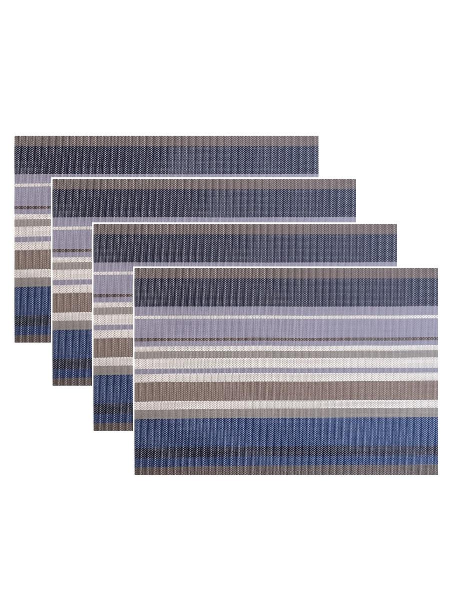 Набор из 4-х прямоугольных кухонных термосалфеток Dutamel плейсмат салфетка сервировочная - серо-синие полосы DTM-024 45*30 см