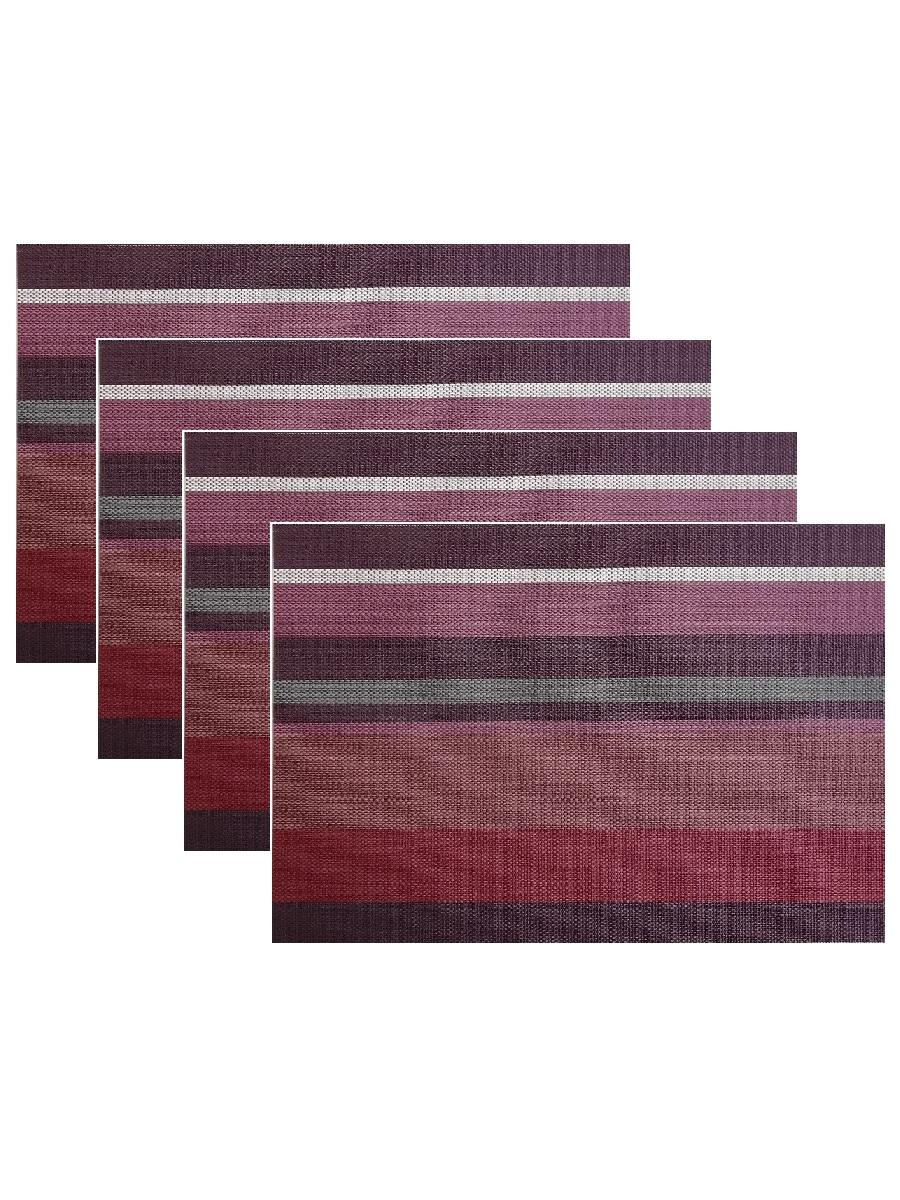 Набор из 4-х прямоугольных кухонных термосалфеток Dutamel плейсмат салфетка сервировочная - фиолетовые полосы DTM-023 45*30 см