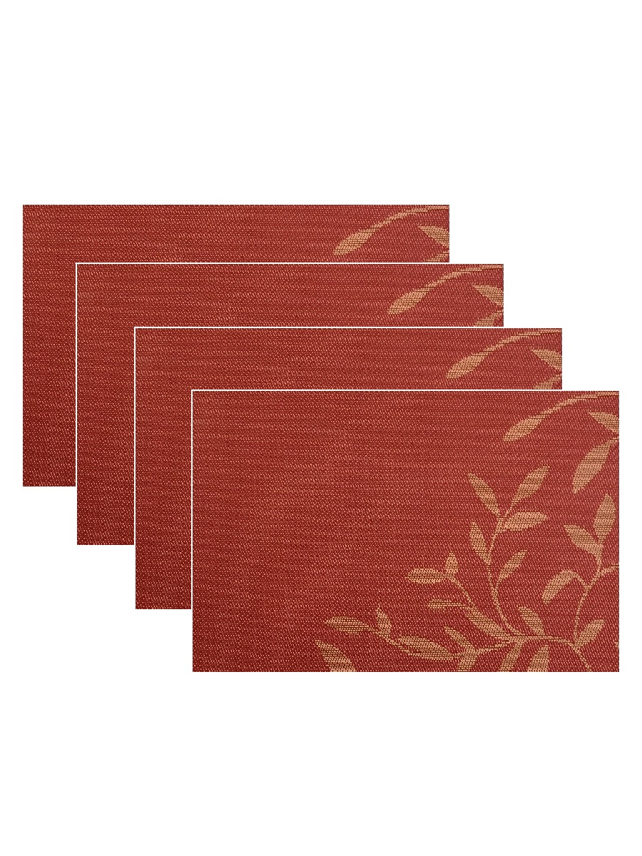 Набор из 4-х прямоугольных кухонных термосалфеток Dutamel плейсмат салфетка сервировочная - оранжевые узоры DTM-022 45*30 см