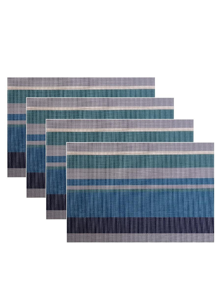 Набор из 4-х прямоугольных кухонных термосалфеток Dutamel плейсмат салфетка сервировочная - синие полосы DTM-019 45*30 см