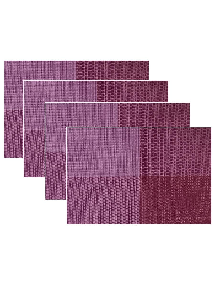 Набор из 4-х прямоугольных кухонных термосалфеток Dutamel плейсмат салфетка сервировочная - фиолетовые прямоугольники DTM-018 45*30 см