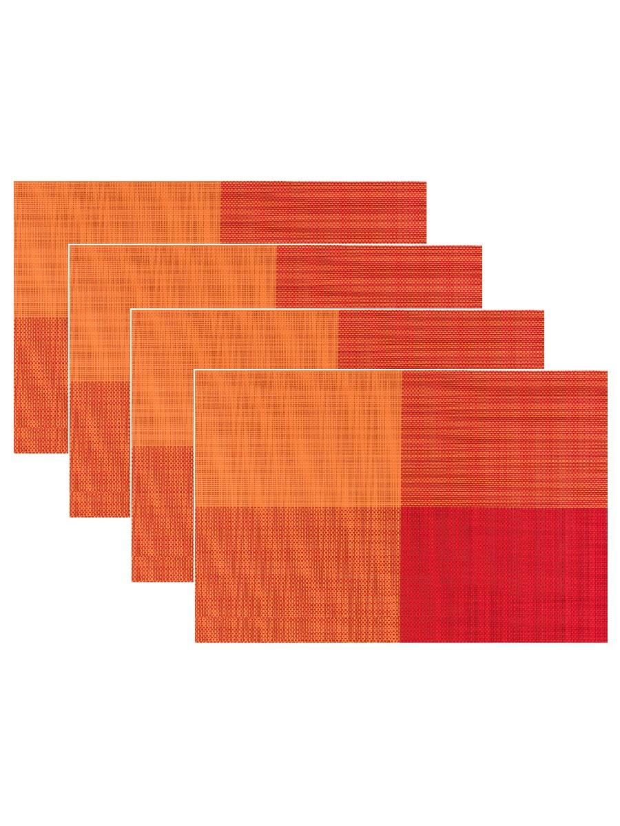 Набор из 4-х прямоугольных кухонных термосалфеток Dutamel плейсмат салфетка сервировочная - оранжевые прямоугольники DTM-017 45*30 см