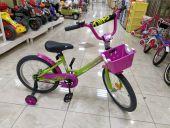 Велосипед детский Novatrack Twist 18 (2020) с корзиной, зелено-розовый