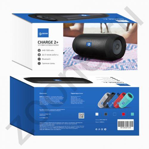 Колонка BLUETOOTH CHARGE 2 PLUS черный (FM, AUX, microSD, USB, Power Bank 1500 mah,12W) DREAM (на русском)
