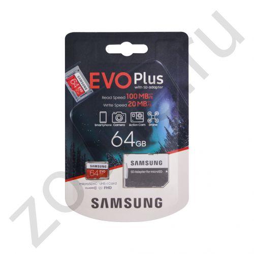 64GB microSDXC Class10 EVO Plus U1 100MB/S FHD SAMSUNG
