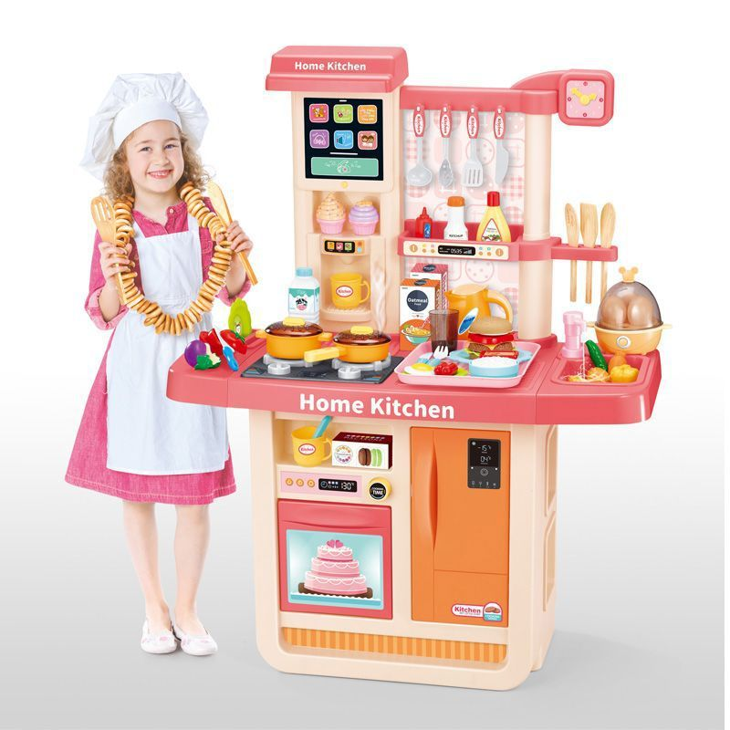 WD-P31 Детская игровая кухня с водой и холодным паром Home Kitchen 98 см. корал