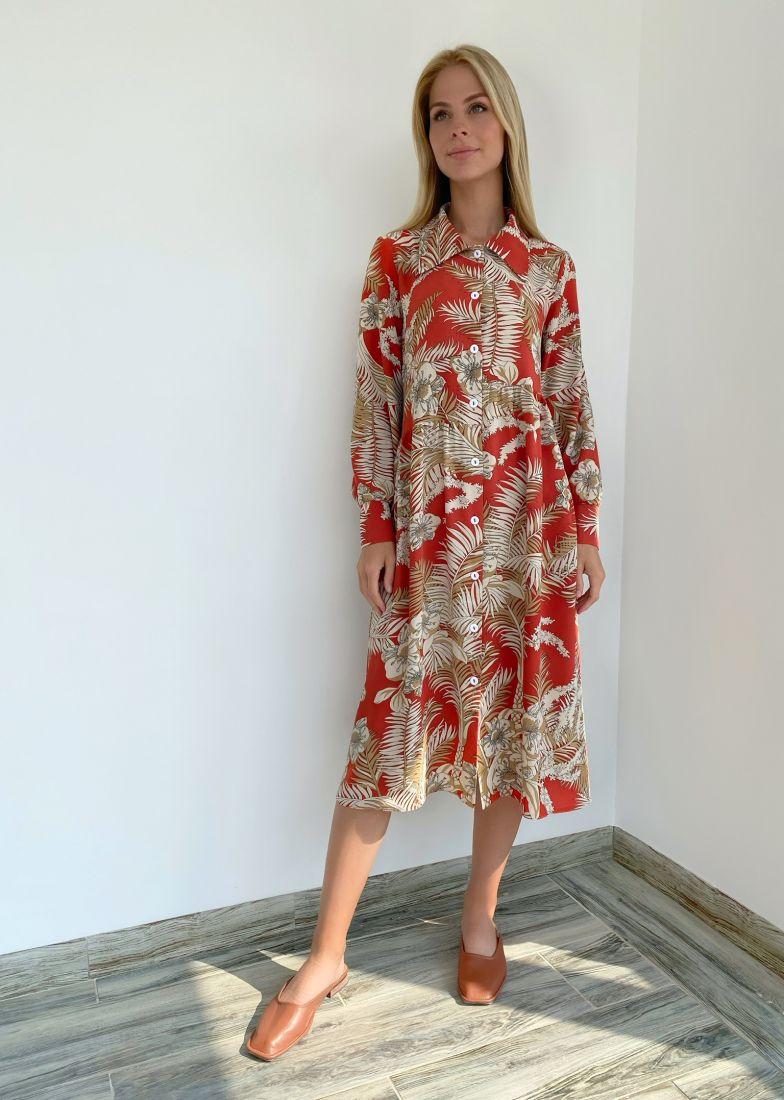 s2193 Платье-рубашка свободная с ассиметричной линией талии