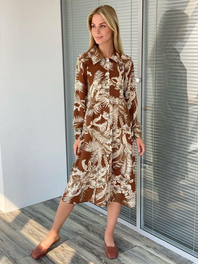 s2196 Платье-рубашка кофейное свободное с асимметричной линией талии