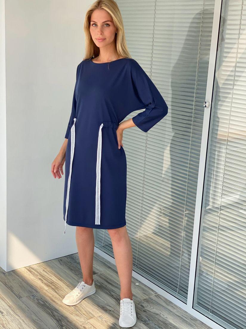 s2201 Трикотажное платье тёмно-синее
