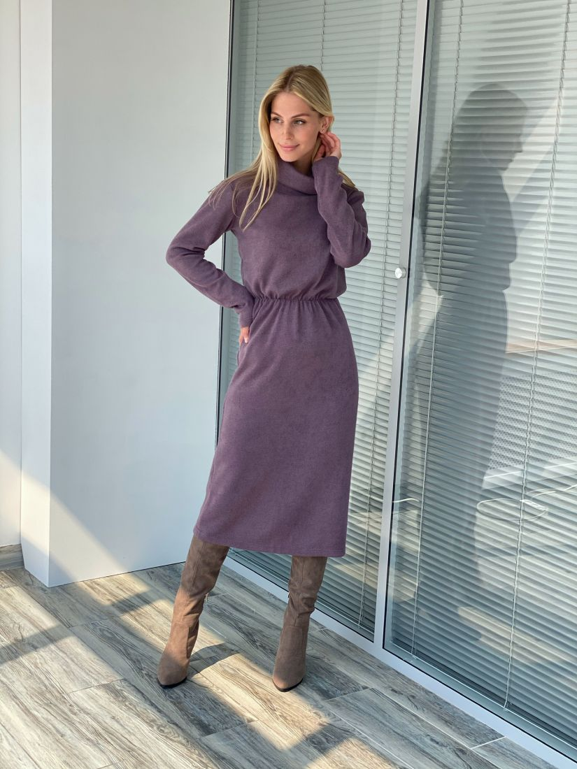 s2206 Платье из ангоры серо-фиолетовое