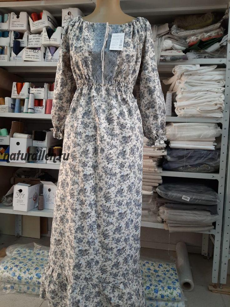 Платье в народном стиле синее