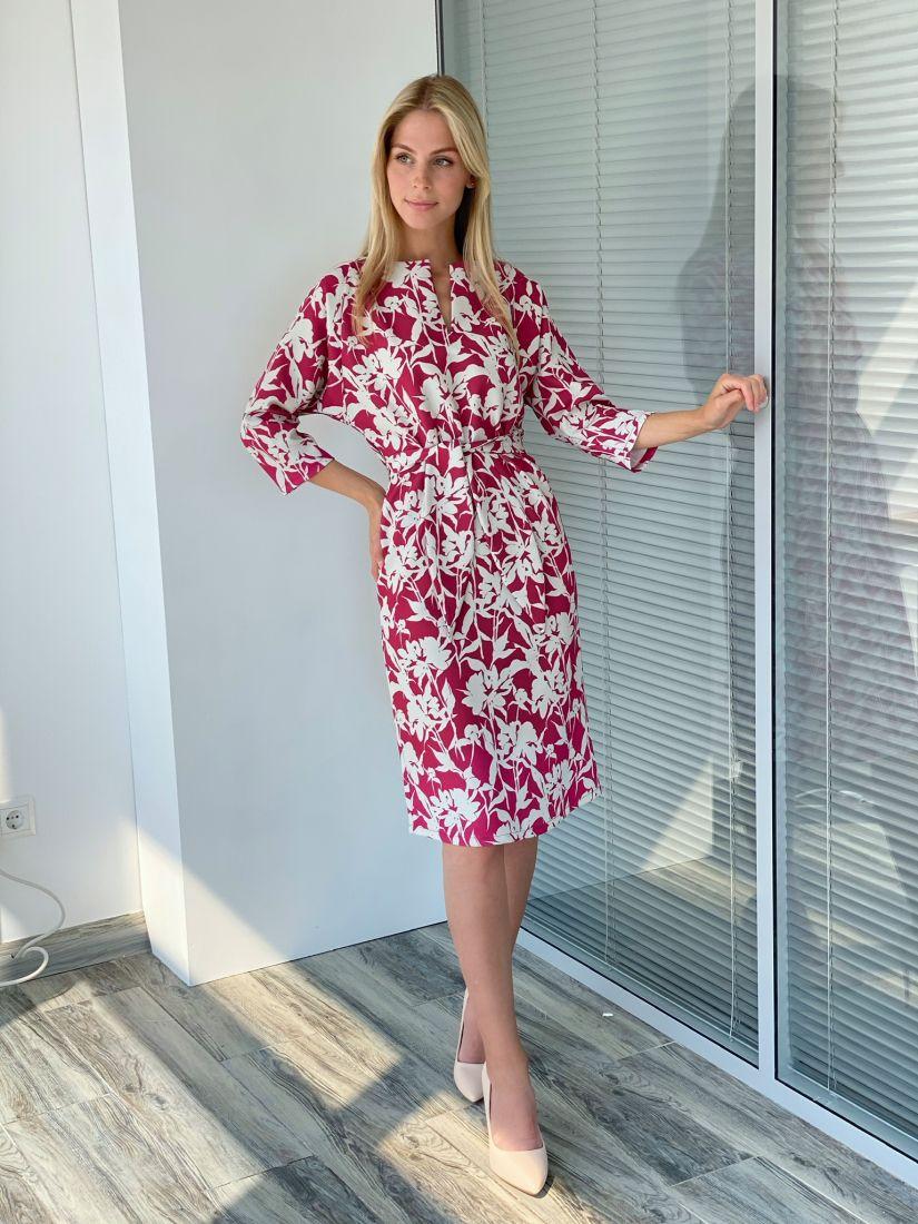 s2209 Платье с рукавом-реглан красно-серое