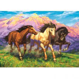 Алмазная раскраска Резвые лошади в поле Рыжий кот НД-1910