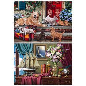 Раскраска алмазная Рыжий кот 30*40см двусторонняя Семья ретриверов/Натюрморт с парусником