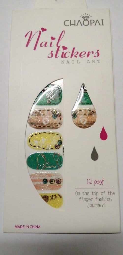 Наклейки (слайдеры) для дизайна ногтей цветные