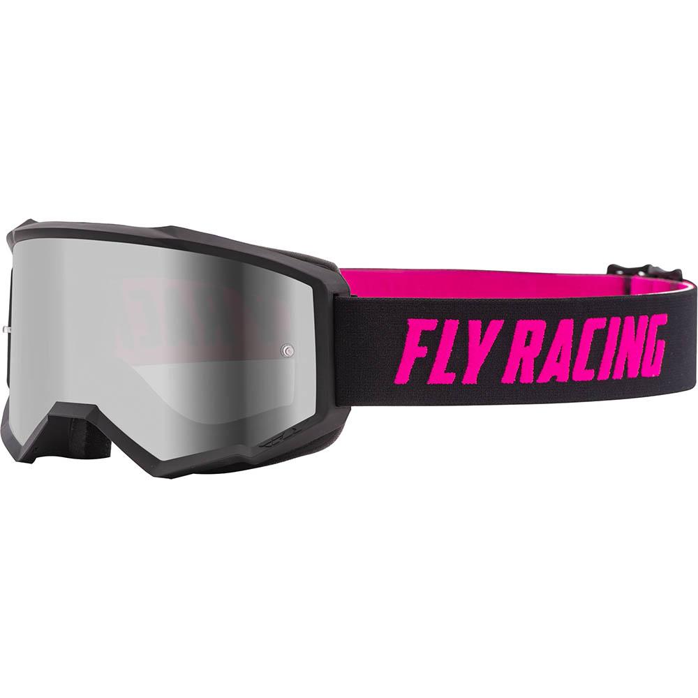 Fly Racing Zone Black/Pink Silver Mirror/Smoke Lens очки для мотокросса