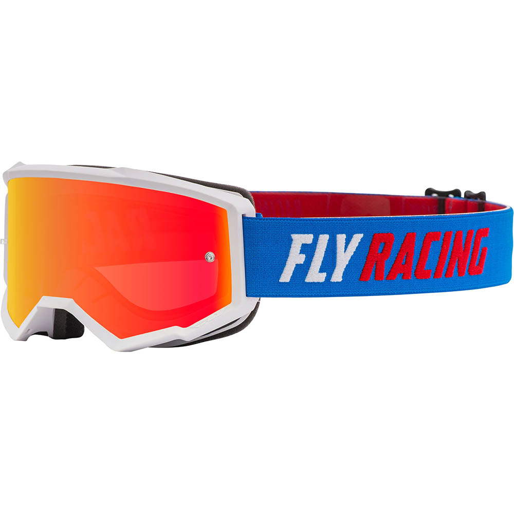 Fly Racing 2021 Zone Blue/White/Red Red Mirror/Smoke Lens очки для мотокросса