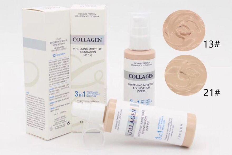 Тональный крем с коллагеном 3 в 1 Enough Collagen Whitening Moisture Foundation №21 (01200))