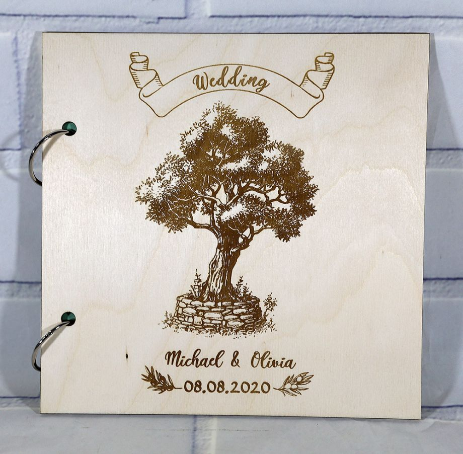 Гостевая книга на свадьбу (свадебная книга) с деревом и ленточкой