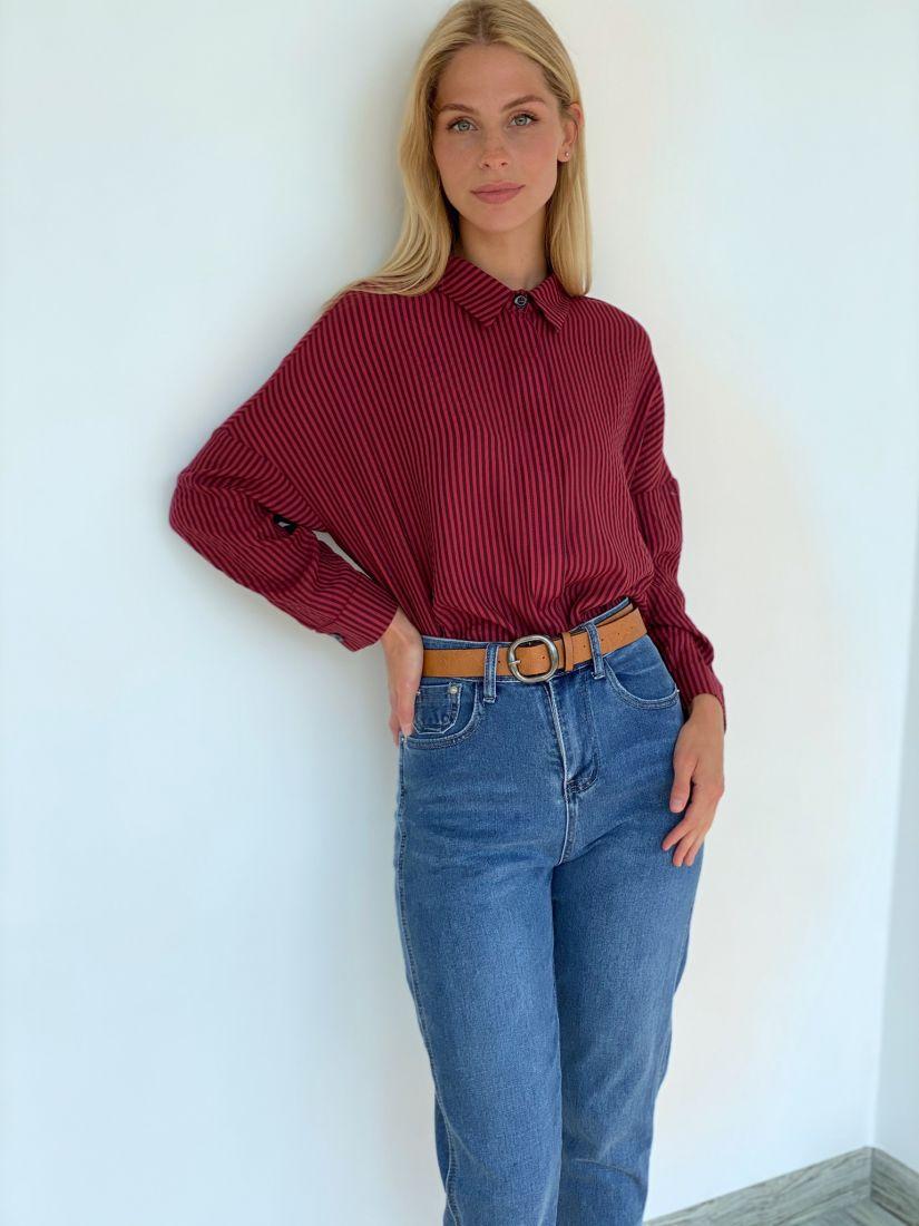 s2210 Рубашка в красно-чёрную полоску с супатной застёжкой