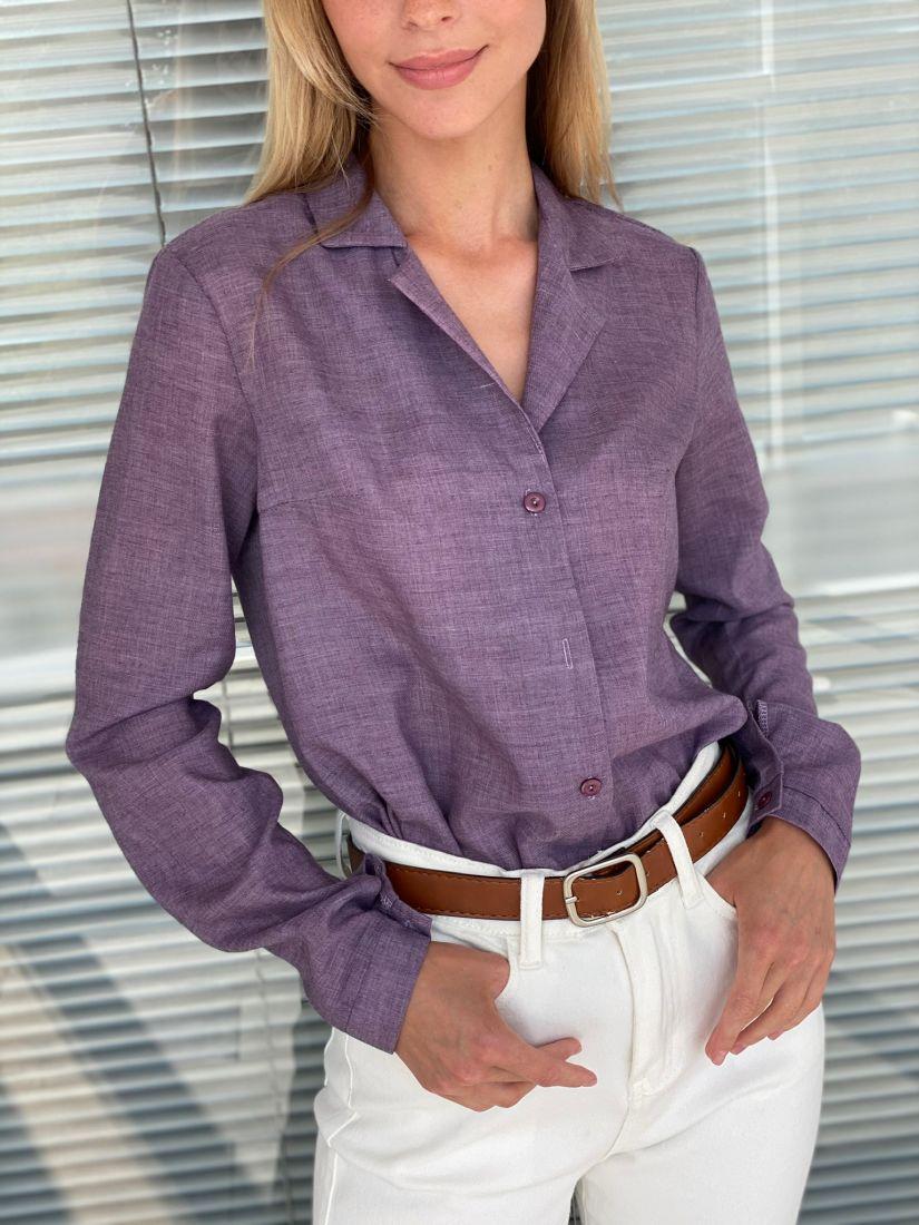 s2211 Блуза с английским воротником серо-лиловая