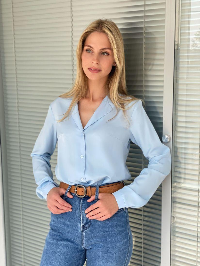 s2222 Блузка с английским воротником голубая
