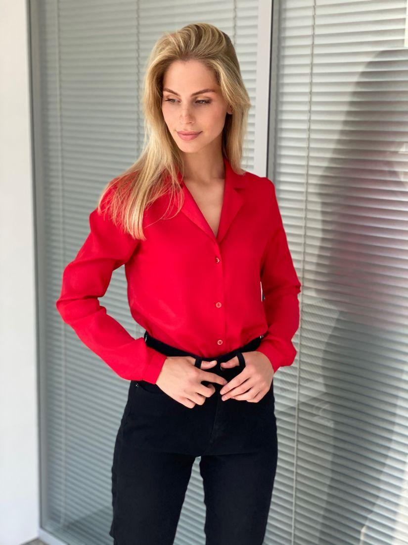 s2232 Блузка с английским воротником красная
